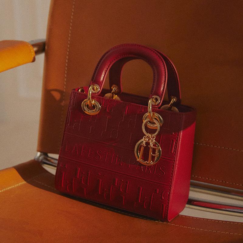 拉菲斯汀2021新款時尚小香風戴妃包手提包女氣質女神單肩斜挎包潮
