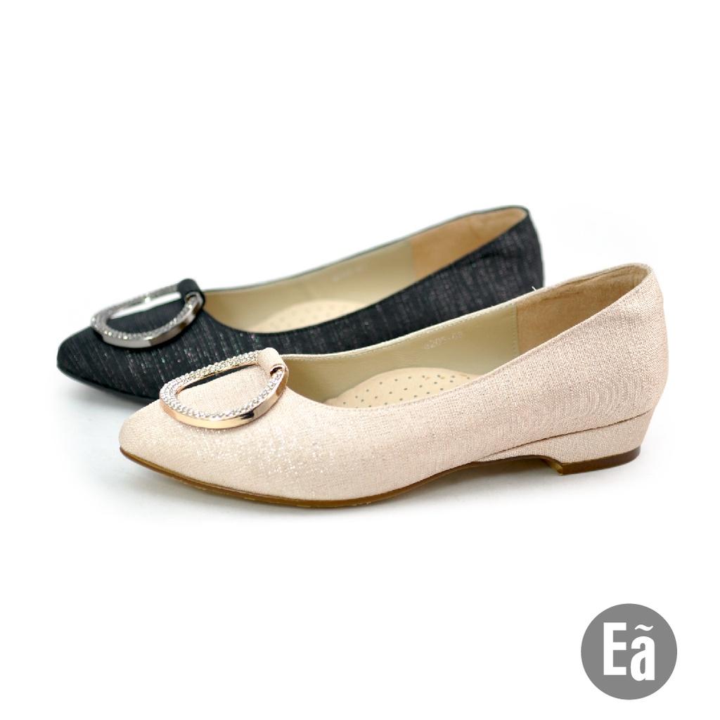 Ea專櫃女鞋 法式優雅質圓釦小尖頭低跟包鞋  (粉銀/黑銀)