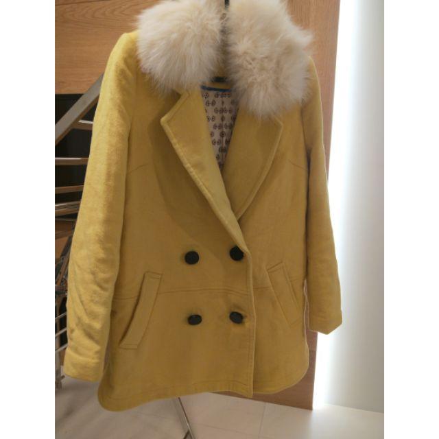 暖黃色羊毛雙排扣大衣