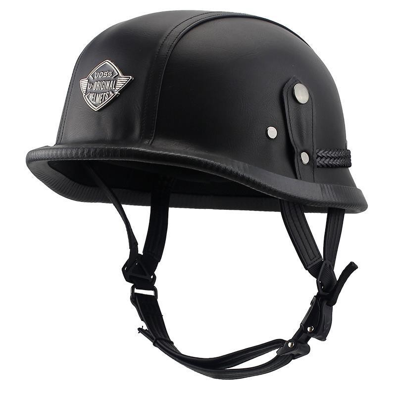 蟹老闆的店●☀VOSS摩托車復古頭盔男女四季通用迷彩皮革盔機車個性酷安全帽夏季