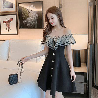 裙子 連身裙 洋裝S-XL實拍女神 黑色小禮服 赫本風小黑裙小個子一字肩連衣裙N153C.6037愛尚依人