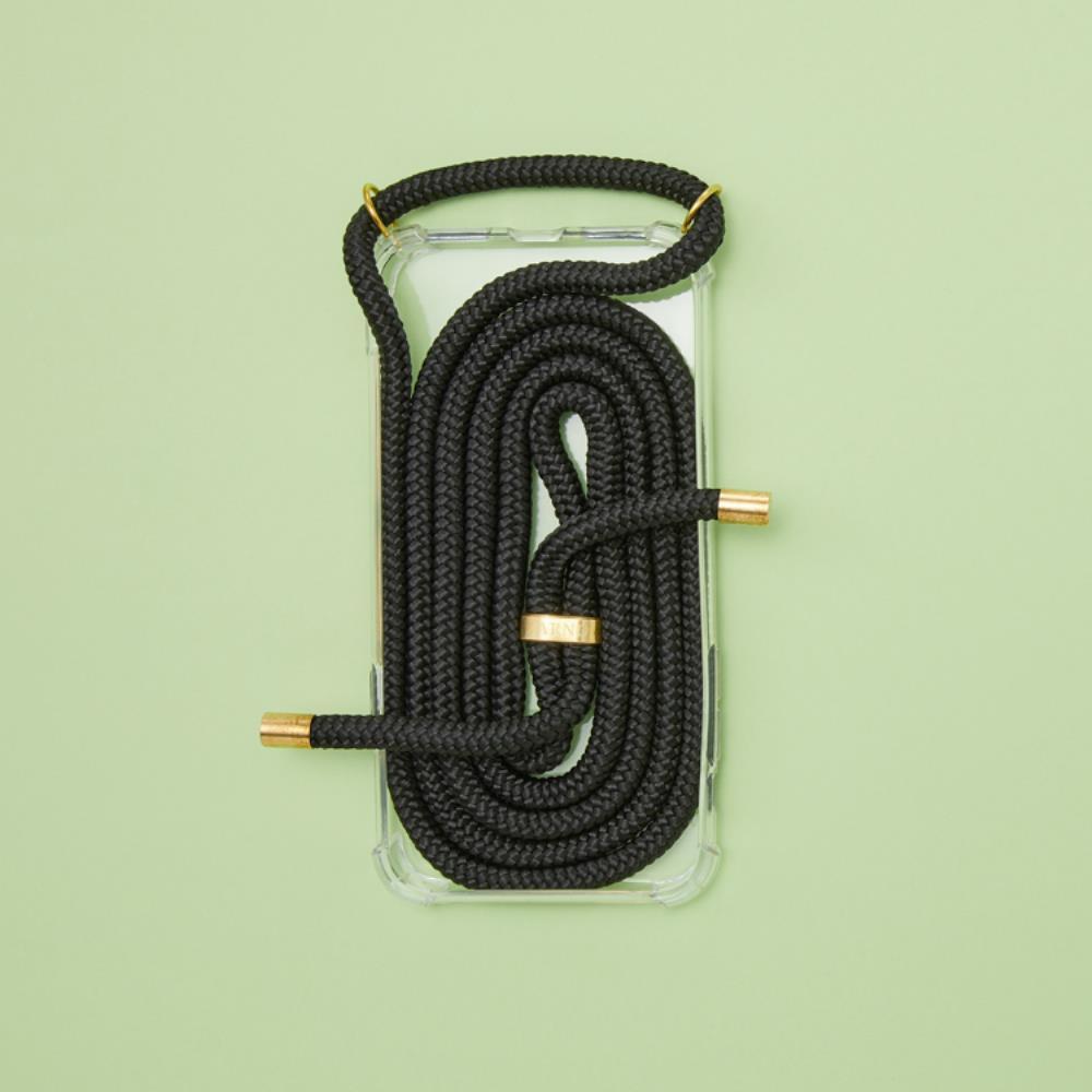 Arno 編繩背帶透明iPhone手機殼_素面黑