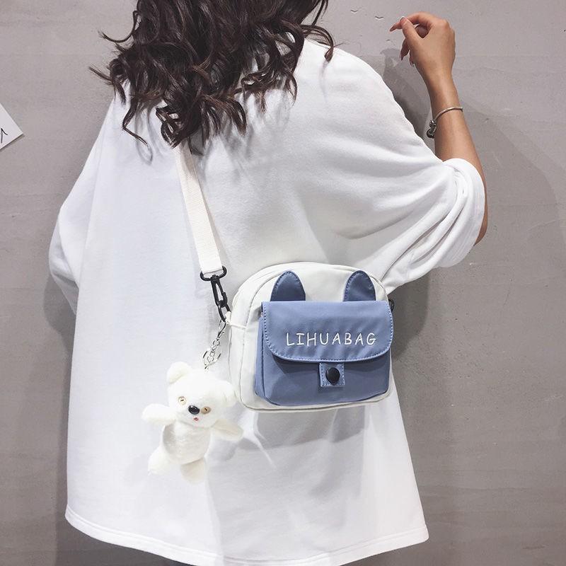 【現貨】萌妹帆布包包女2020新款潮今年流行超火手機包可愛少女百搭斜挎包手提包 側背包 斜背包
