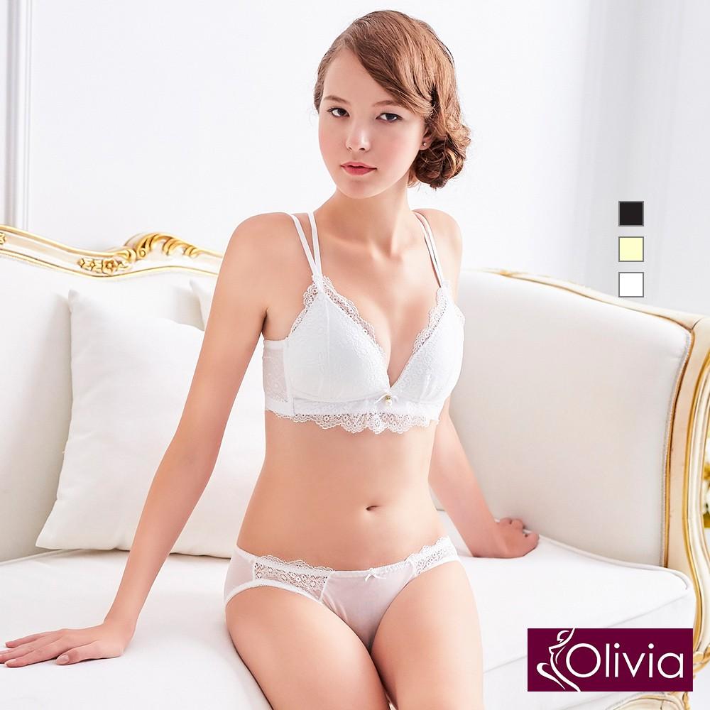 Olivia 無鋼圈蕾絲彈力交叉美背內衣褲套組-白色 廠商直送 現貨