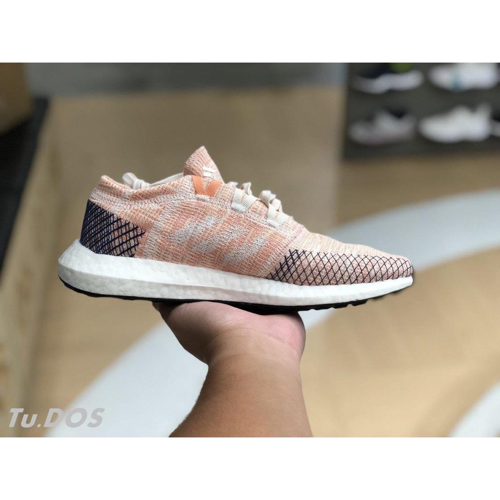 全新正品ADIDAS PUREBOOST GO 張鈞甯 B75666 粉紅橘藍色 編織 慢跑鞋 透氣