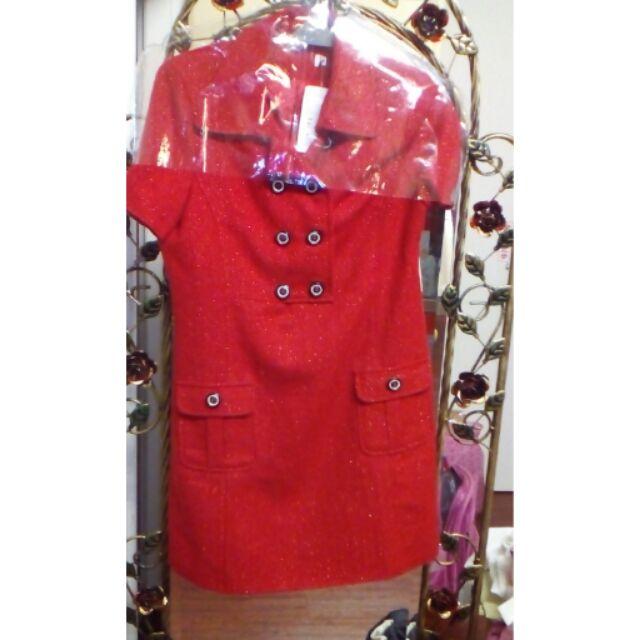 亮眼紅色 毛料 洋裝