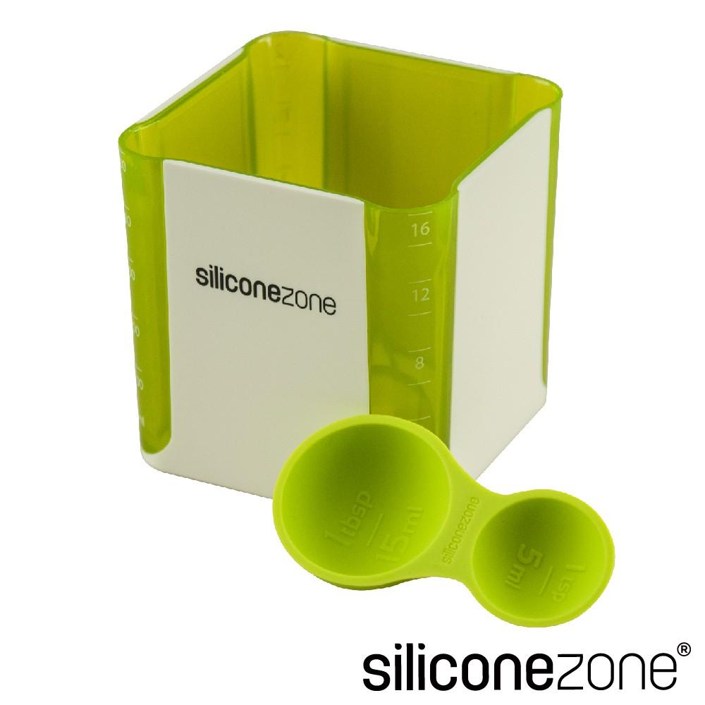 【Siliconezone】高品質食品級 施理康 520ml耐熱立方造型計量杯&計量匙(綠)