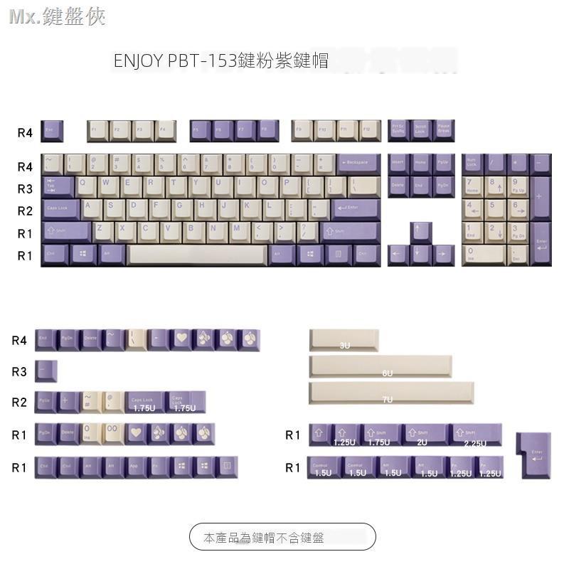 超夯鍵帽館Enjoypbt菜菜原廠二色奶紫鍵帽 abs材質 機械鍵盤鍵帽153鍵