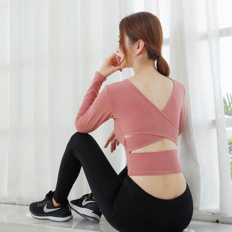 2021新款瑜伽服女士運動上衣女士長袖健身服十字美女後背快乾女式T恤