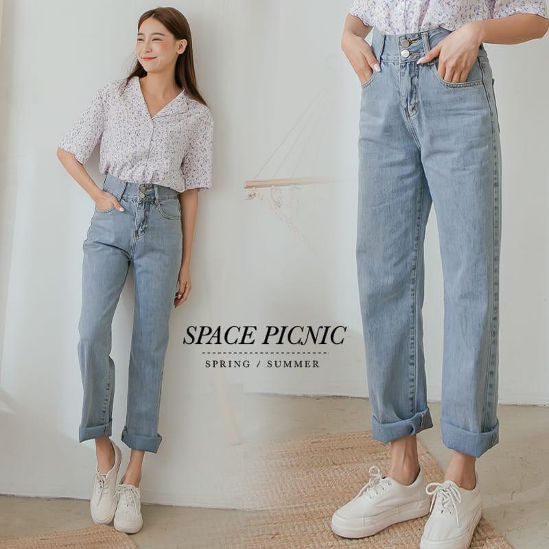 Space Picnic|雙釦抽鬚單寧牛仔寬褲(現+預)【C21034028】