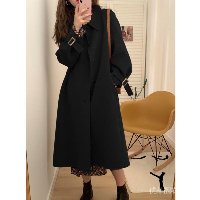 外套風呢子小個子大衣2020年秋冬季中長款女赫本黑色加厚新款毛呢
