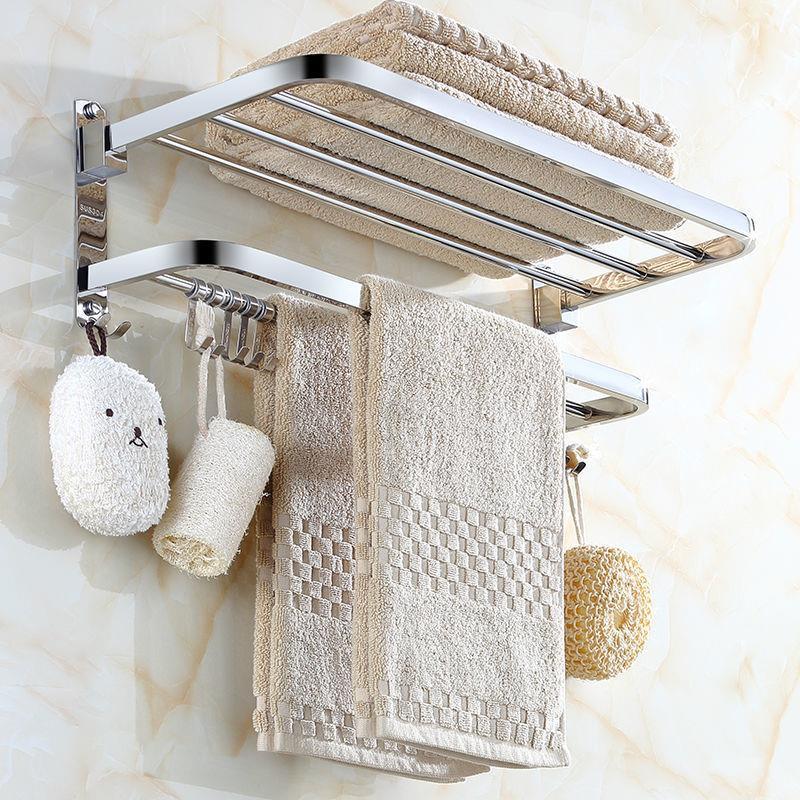 ◇304不鏽鋼摺疊浴巾架免打孔衛生間置物架浴室活動毛巾架衛浴吊飾