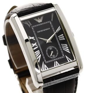 【洋碼頭】Armani阿曼尼 AR手錶英倫獨立黑色方形小錶盤皮帶款男士時尚大方石英腕錶AR1604 台北市