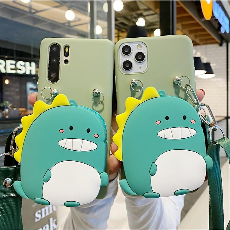 三星 S6 S7 S8 S9 S10 S20 E Edge Plus 超卡通綠色恐龍 Tpu 手機殼零錢包 + 掛繩