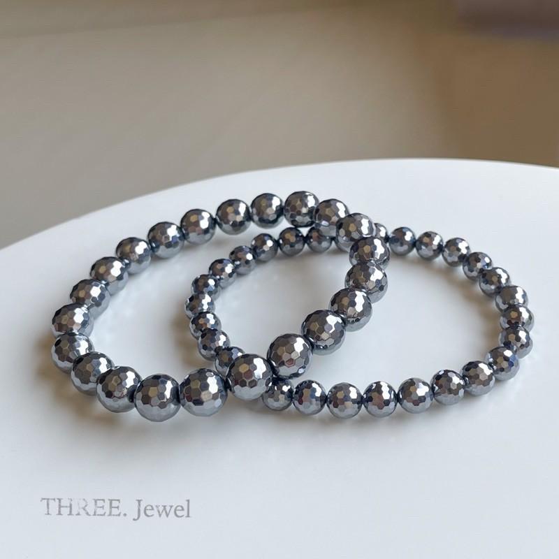 【THREE】鈦赫茲 日本鈦赫茲 鑽切 能量磁石  太赫茲  可融冰 切面 高品 手珠 手鍊 彡彡水晶