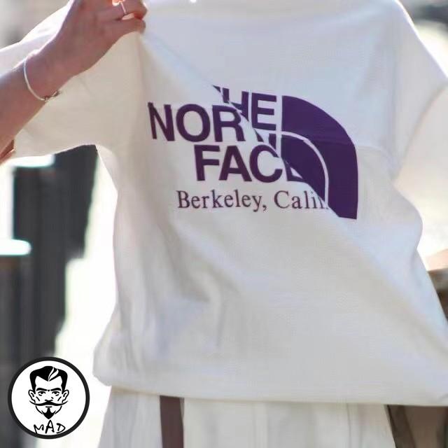 【全場免運】The North Face 北面 TNF紫標拼接大logo印花短袖情侶款T恤