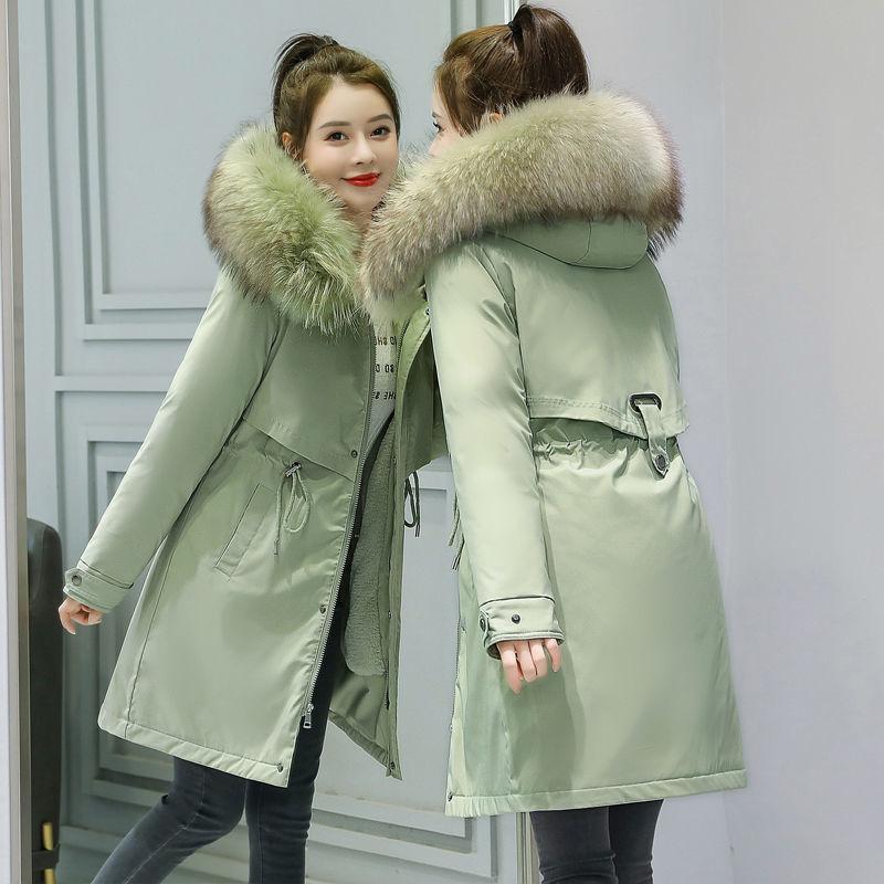 加绒加厚派克服女中长款大衣冬装棉服2020年冬季新款棉衣外套棉袄 G1nM