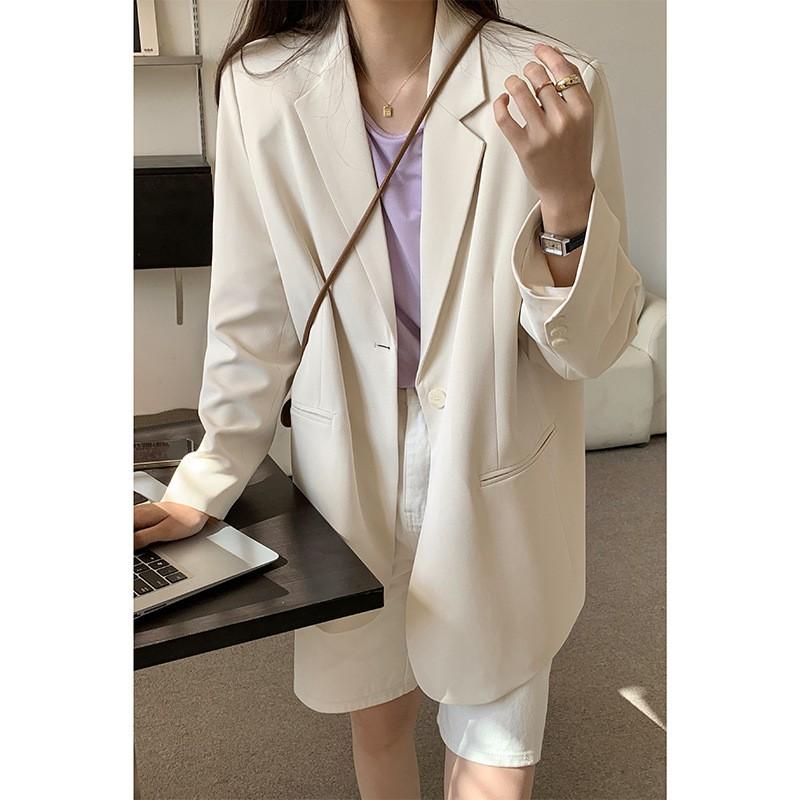 [識時]2021春季新體面款休閑垂感西裝外套女韓版寬松氣質小西服上衣