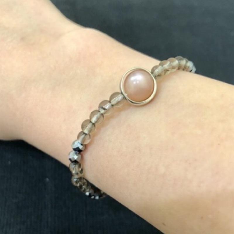 【手作】太陽石➕茶晶➕鈦赫茲➕珍珠手串/手珠/手鍊