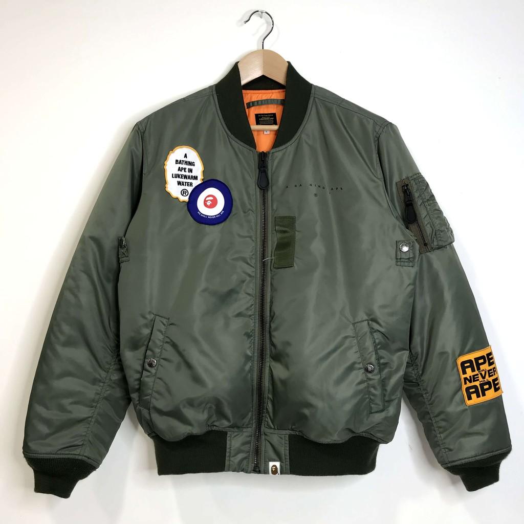 (Used) Bape MA1 Bomber Jacket 軍綠 飛行夾克 空軍 貼布 猿人 二手 現貨