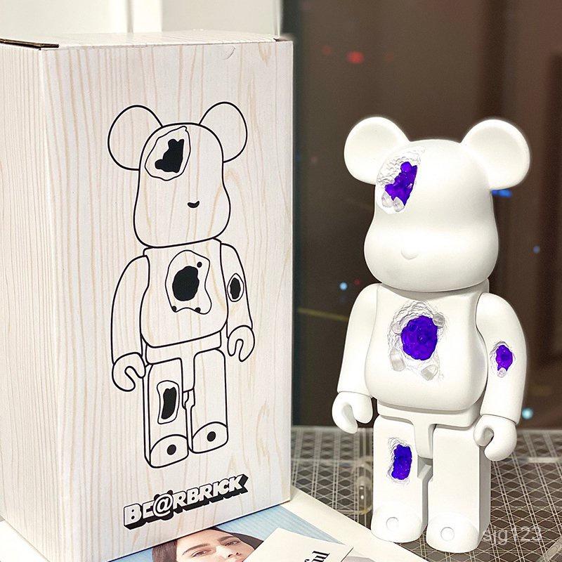 【卡卡手辦】庫柏力克熊 被侵蝕bearbrick400%積木暴力熊水晶熊1000%公仔手辦擺件潮玩禮物