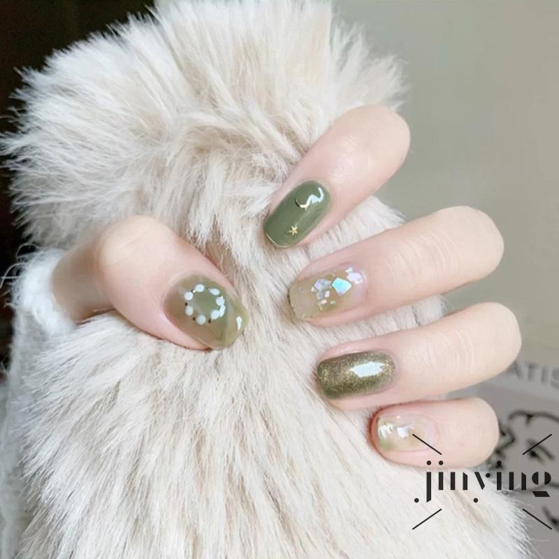 網紅穿戴美甲甲片 成品美甲 星月抹茶綠貝殼暈染假指甲貼片