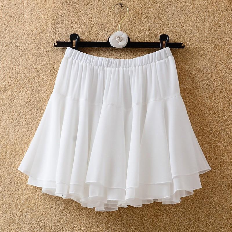 女夏季新款雪紡裙百搭黑色防暴露 A 字裙雙層荷葉邊蛋糕蓬蓬裙