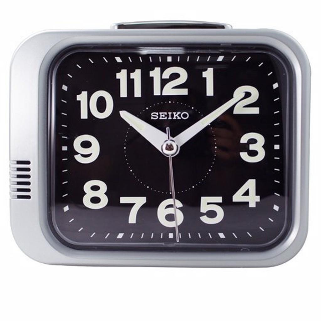 日本精工-SEIKO QHK028方型夜光響鈴鬧鐘 大聲公 靜音式秒針 鬧鐘--銀框黑面