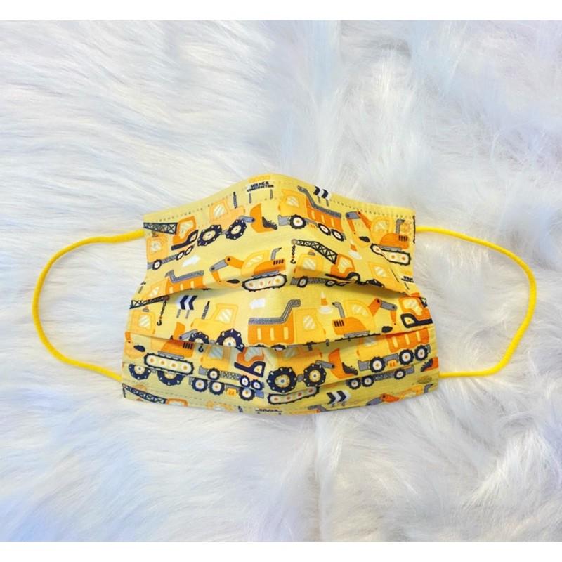 菲凱樂 freecolor -工程車兒童防護口罩 卡車 貨車 挖土機 台灣製造 三層不織布兒童防護口罩 10片/盒