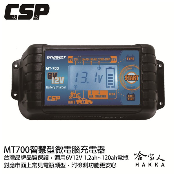 CSP MT700 6V 12V 電池充電器 4a 電池保養 含發票 汽車 機車電瓶 玩具車 efb agm 哈家人