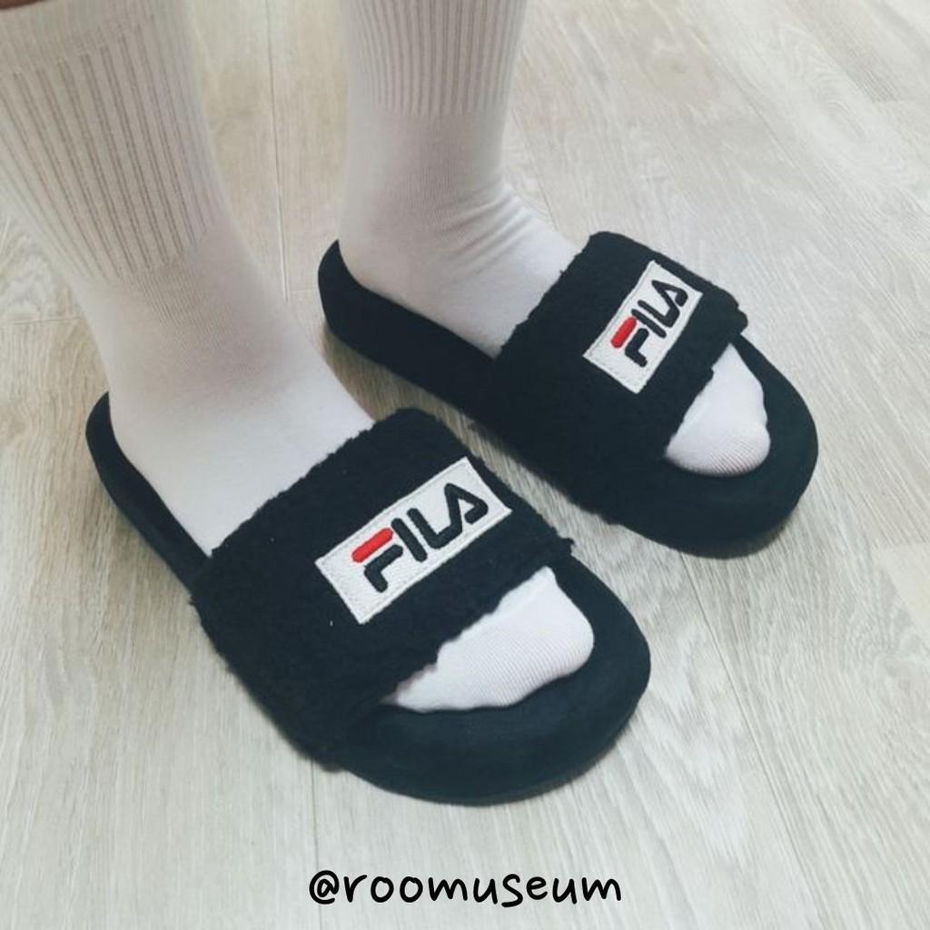 Roomuseum韓國代購🇰🇷FILA 毛毛拖鞋 室外拖鞋 外出拖鞋 拖鞋