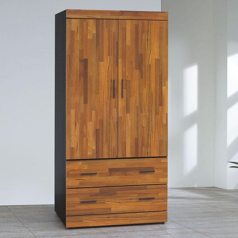 【CA176-4136】黑色配集層木耐磨3×6尺木心板衣櫃