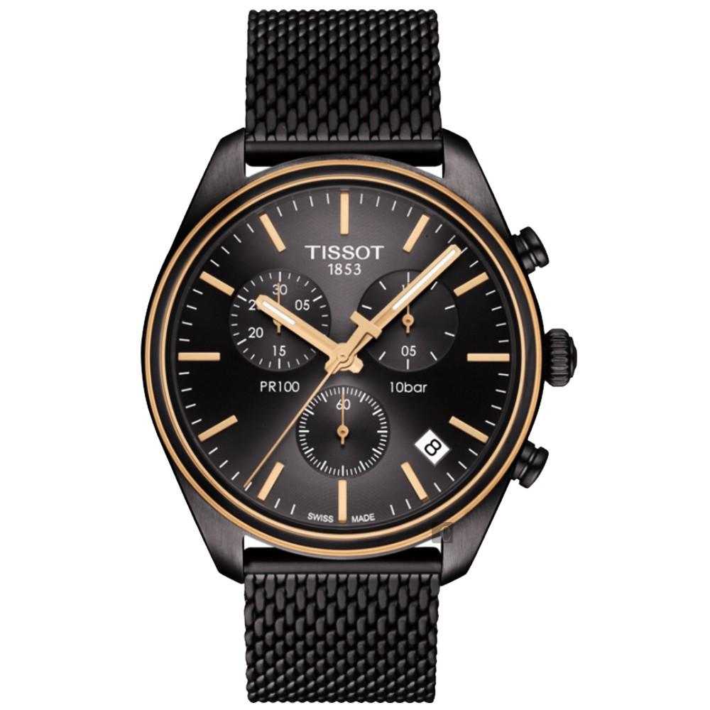 TISSOT天梭 PR100 經典米蘭帶計時手錶-鍍黑/41mm T1014172306100 廠商直送