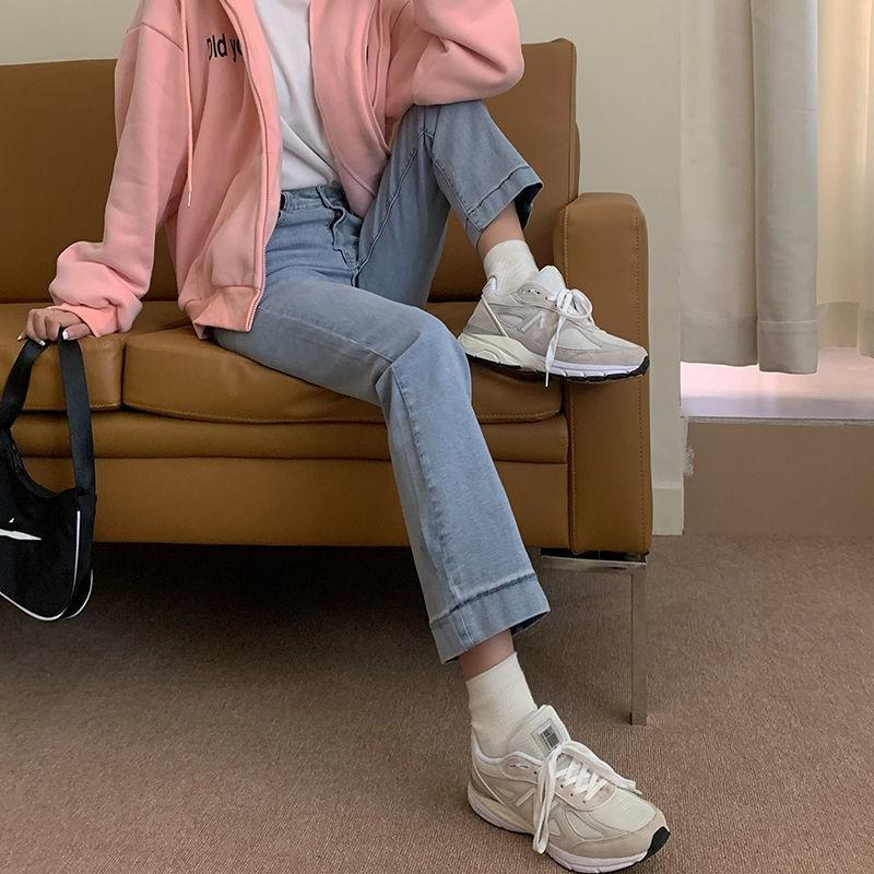 牛仔褲 休閒長褲 牛仔長褲 寬褲 淺藍色牛仔褲女直筒寬松九分褲春季新款外穿高腰顯瘦煙管褲子