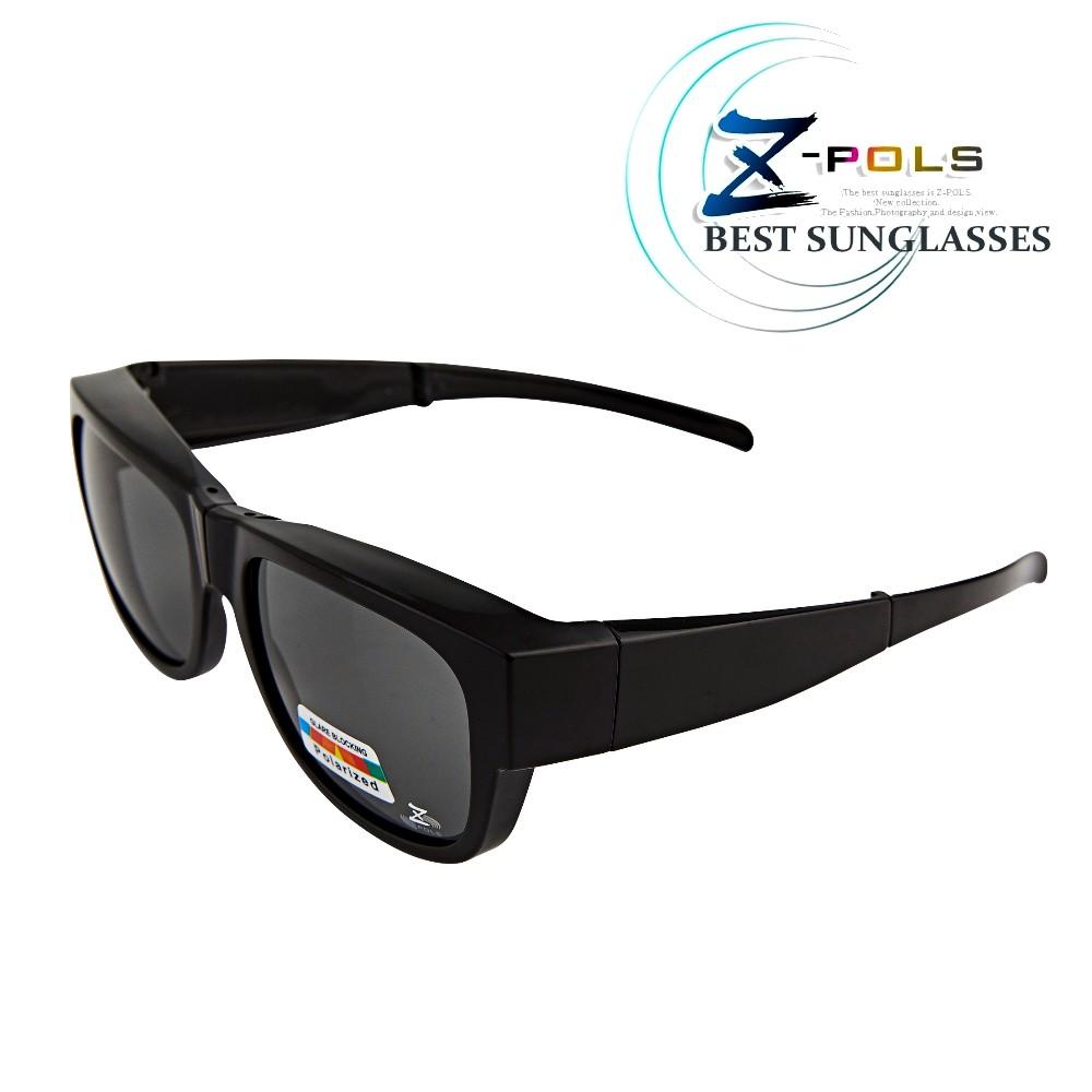 【Z-POLS】新一代包覆式多功能可折疊收納設計 抗UV400頂級Polarized寶麗來偏光太陽眼鏡套鏡(亮面黑款)