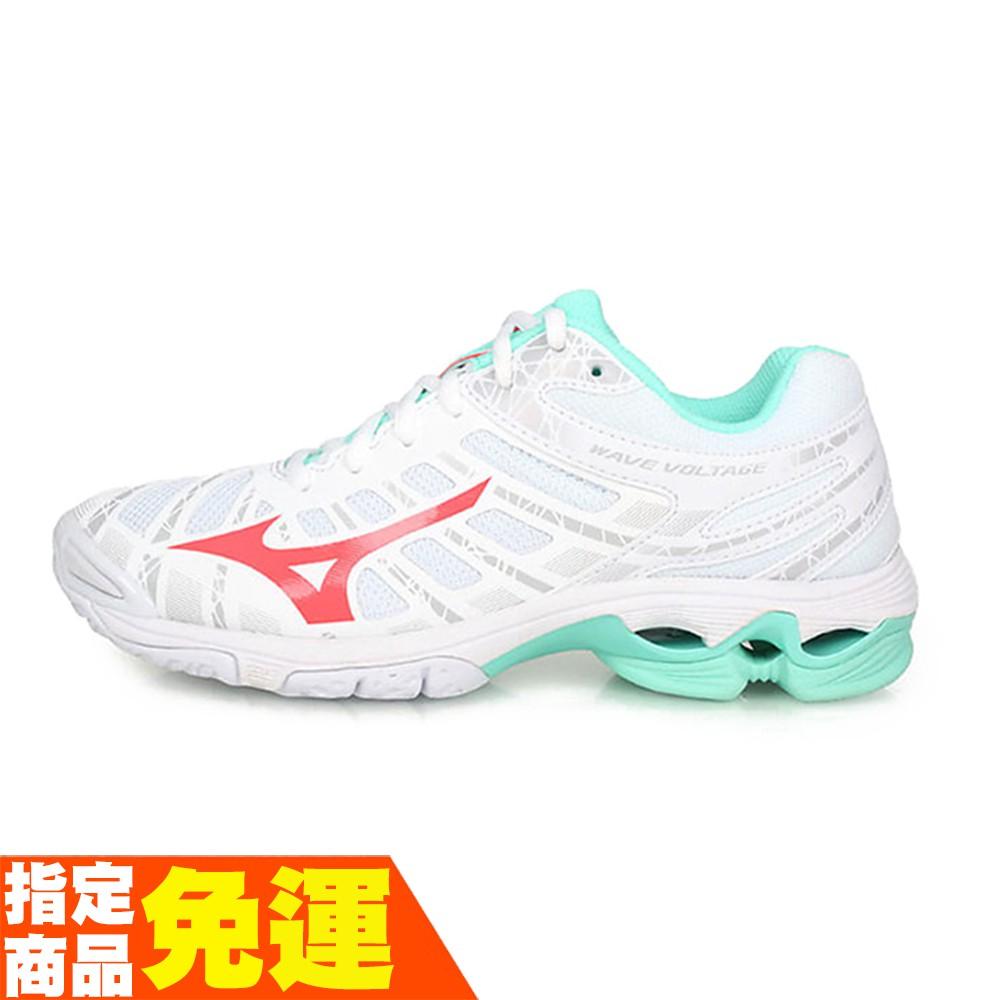 MIZUNO WAVE VOLTAGE 女款排球鞋 進階 V1GC196058 白綠 贈運動襪 21SSO 【樂買網】