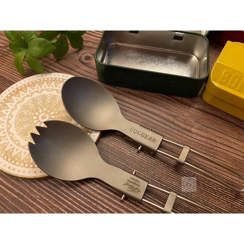 |DOKOECO|輕量純鈦+304不鏽鋼柄折疊環保餐具 露營便攜野餐隨身湯匙沙拉勺