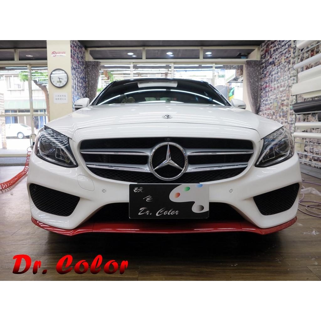 Dr. Color 玩色專業汽車包膜 M-Benz C300 高亮黑/黑carbon_前下巴/窗框/後蓋鍍鉻/前保桿局部