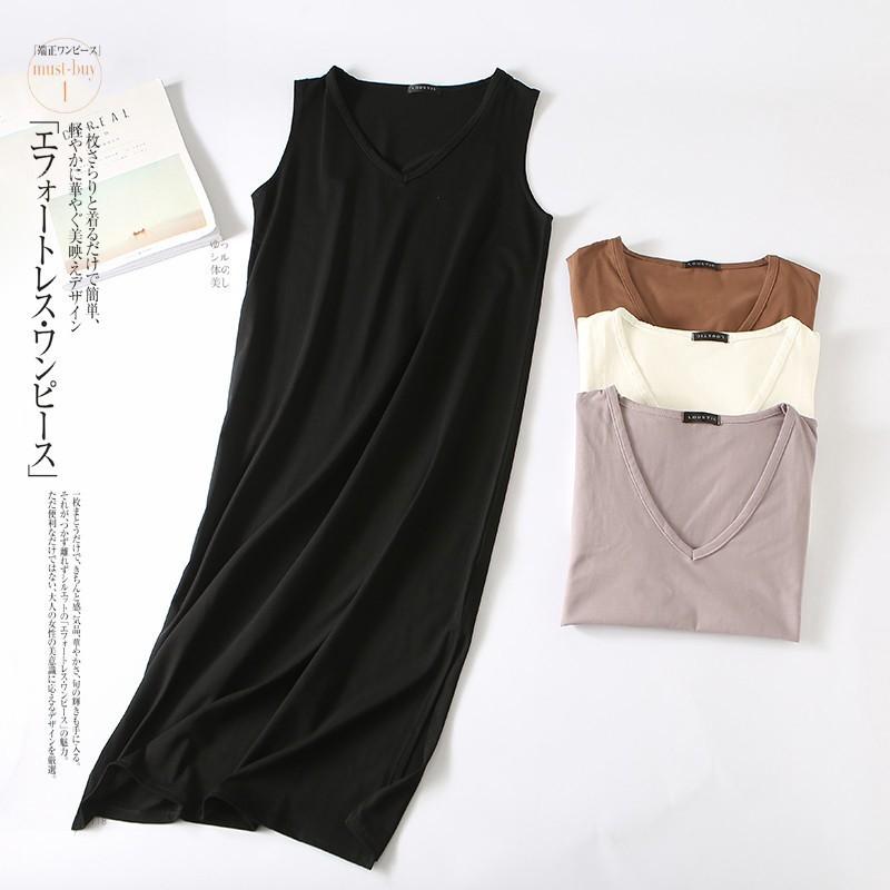✶┅新款現貨 女生冰瓷棉連身裙 V領韓版中長款洋裝 氣質修身顯瘦一步裙 無袖包臀連身裙 長版女裝