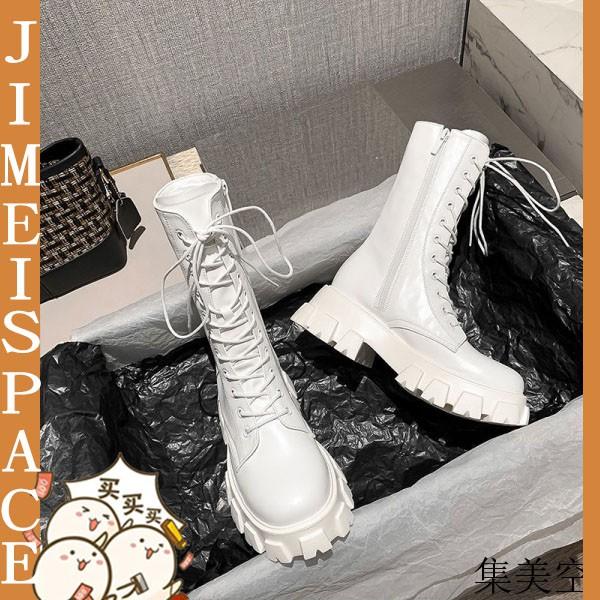 【七天無理由退換】馬丁靴 中筒靴 瘦瘦靴 白色短靴增高 女生 潮ins 酷 秋季 新款 厚底 中筒靴
