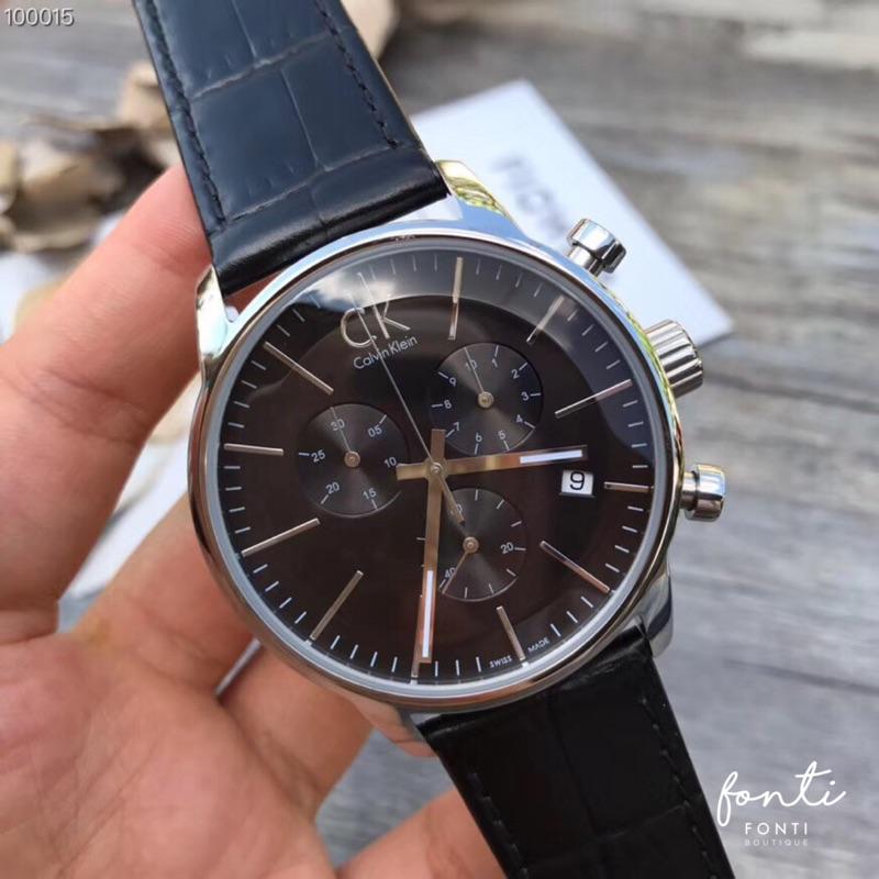 CK City 銀 黑 皮革 三眼計時 手錶 錶 CK手錶 CK錶 Calvin Klein 凱文克萊