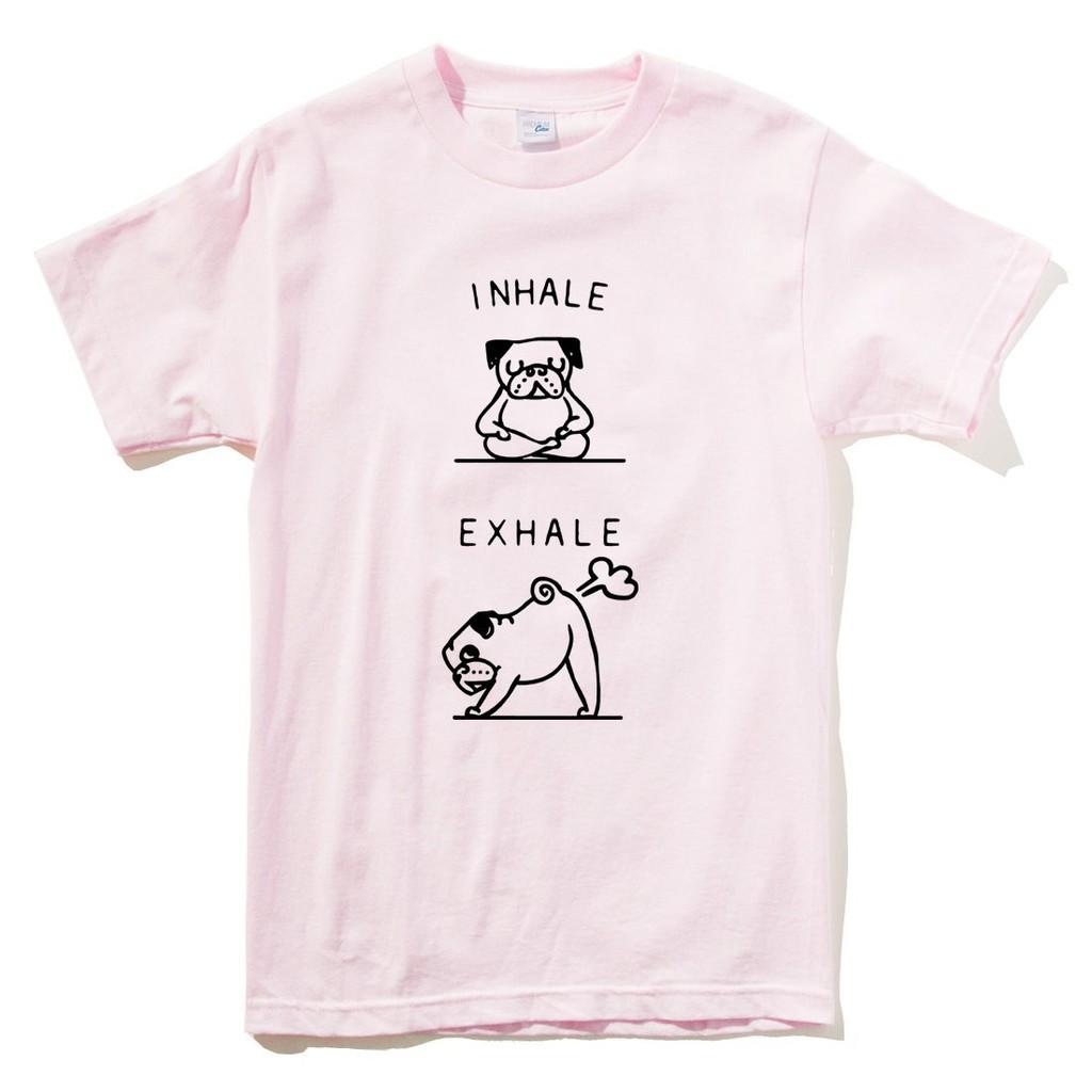 Pug INHALE EXHALE 短袖T恤 3色 哈巴狗法鬥八哥狗動物趣味幽默吸氣呼氣放屁【現貨】