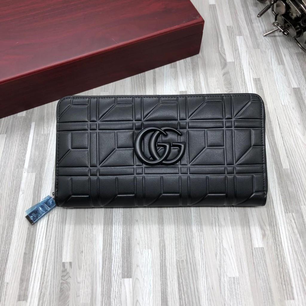 (COCO小賣鋪)Gucci 古馳錢夾 男包包 手拿包 Gucci皮夾 黑色壓紋真皮錢包 男用長夾 Gucci拉鏈包