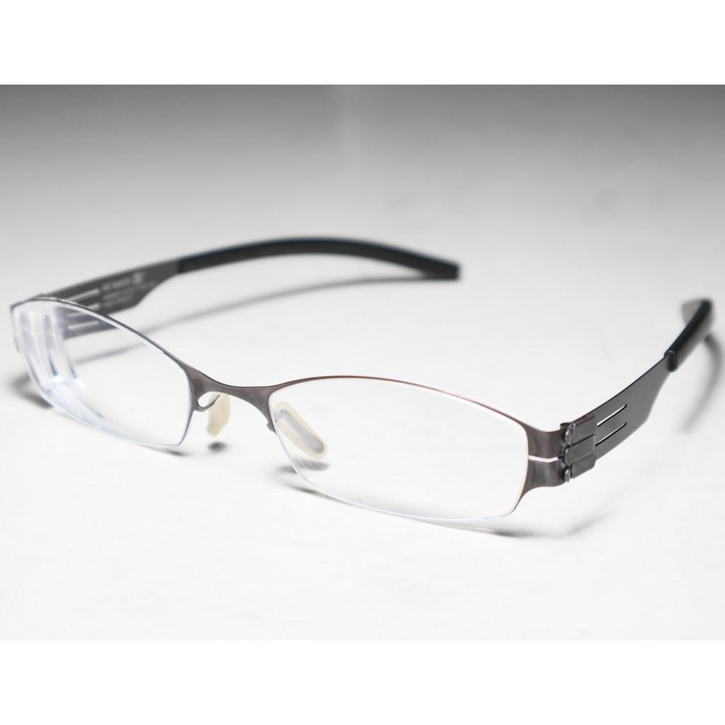 二手原廠正品 ic! berlin Model Kanna 咖啡色 德國製中性時尚輕薄無螺絲設計金屬框眼鏡框鏡架