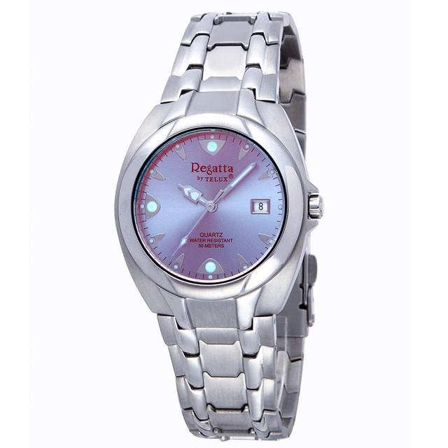 台灣品牌手錶腕錶【TELUX鐵力士】極光元素時尚腕錶手錶37MM台灣製造石英錶93513-BL鋼帶淺藍面