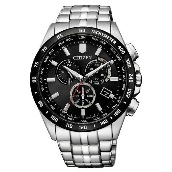 CITIZEN 星辰錶 CB5874-90E Gent's時尚男錶 光動能電波三眼腕錶/ 黑x銀 43mm