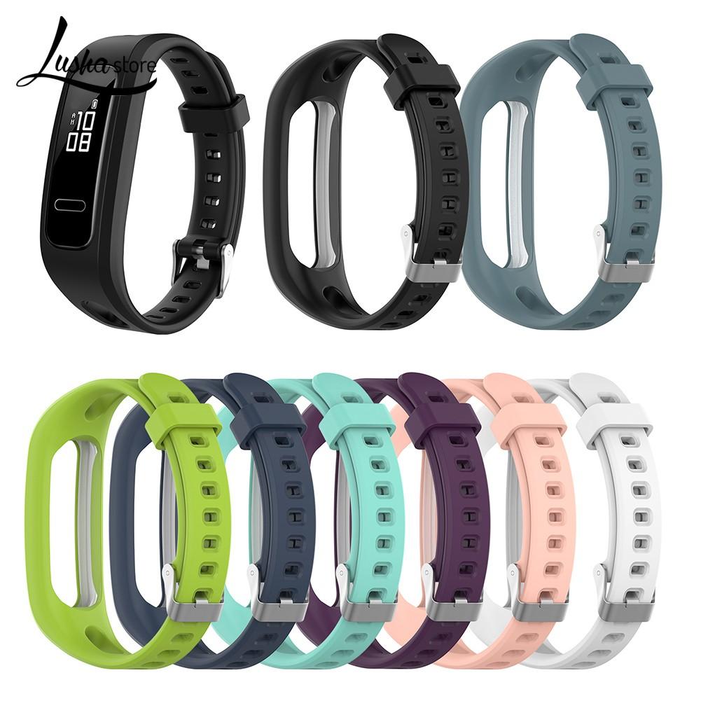 Lush👔【熱賣】適用於華為榮耀手環 4 running版 /手環band 3E矽膠錶帶 替換腕帶