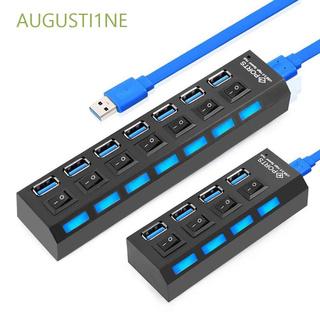 AUGUSTI1NE 黑色高速4埠USB集線器3.0USB集線器2.07埠USB分路器轉接器