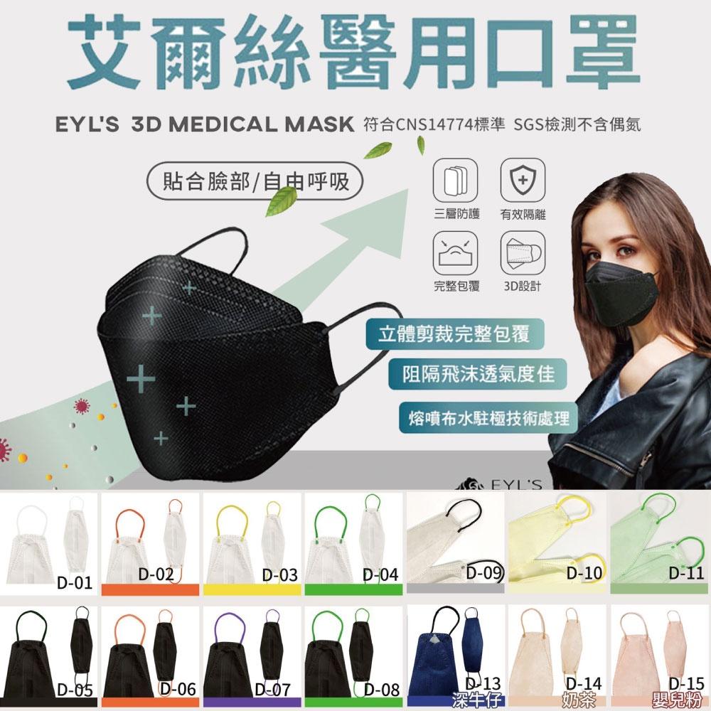 【WIWI】艾爾絲成人醫用口罩(立體)(10入/盒) 台灣製 韓版KF魚型口罩 多色任選 醫療口罩 立體口罩