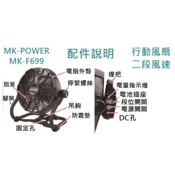 MK-POWER 充電式 MK-F699 電風扇 18V 空機 牧田副廠 牧田通用 電扇 風扇 非 DCF102